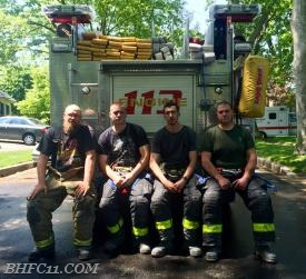 First Due Engine Crew Firefighter J. Norris, Lieutenant E. Dimauro Jr., Captain M. Fanelli, Firefighter N. Tusio (Left to right)