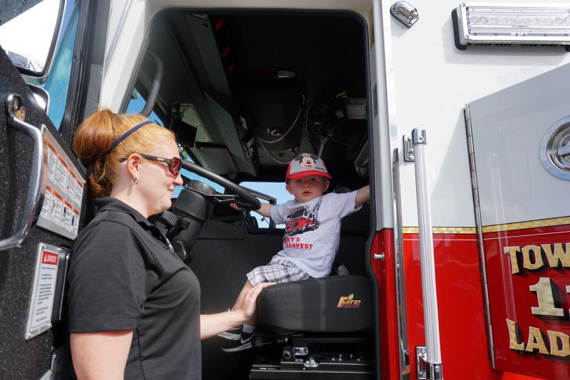Future firefighter Bonsall with his mom Auxiliary member Stephanie Bonsall