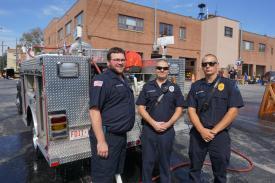 Secretary Hammerer, Firefighter Kirkner & Rescue Lt. E. DiMauro, Jr.