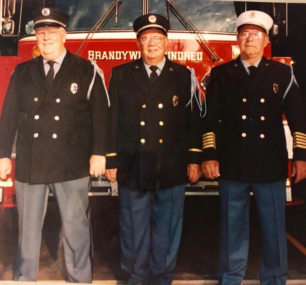 From L to R, President Emeritus Donald McKay, President & Fire Police Emeritus Charles Frampton & Fire Chief Emeritus C. Frank Peterson