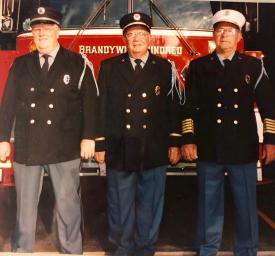 From L to R, President Emeritus Donald McKay, President & Fire Police Emeritus Charles Frampton & Fire Chief Emeritus C. Frank Peterson