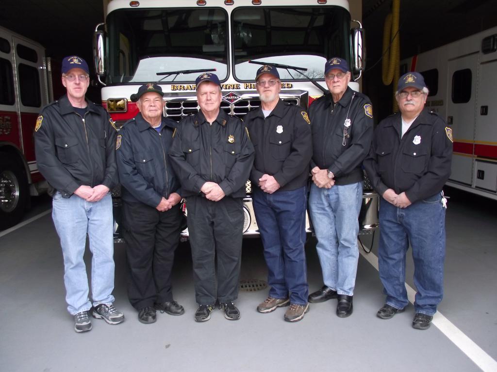 """2015"" Fire Police from L to R, Randy Quinn, Charles Frampton, Jack Clendaniel, Wayne Norris, Ron Schmidt & Mike DiMauro, Sr."