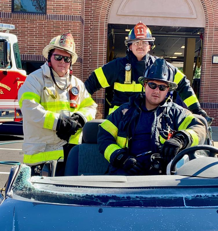 Asst. Chief D. Pearce, Firefighter N. Tusio & Probationary Firefighter J. Nichols